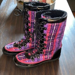 Coach Peggy Snow Boots pink and purple plaid